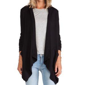 Splendid Black Ruffle Long Cardigan Sweater XS